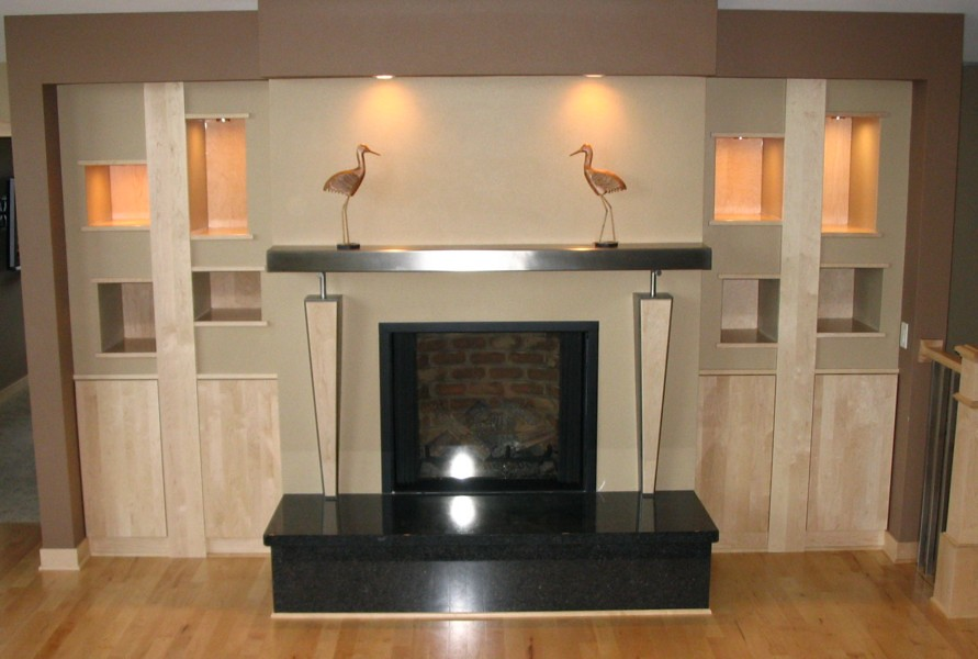 Maple & stainless steel mantel | Fireplace wall with ...