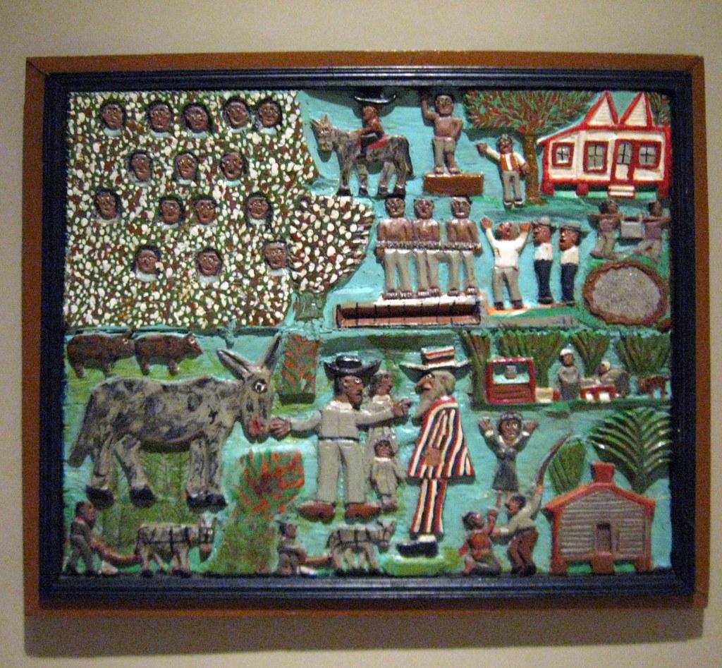 Slavery Time Elijah Pierce Carved And Painted Wood