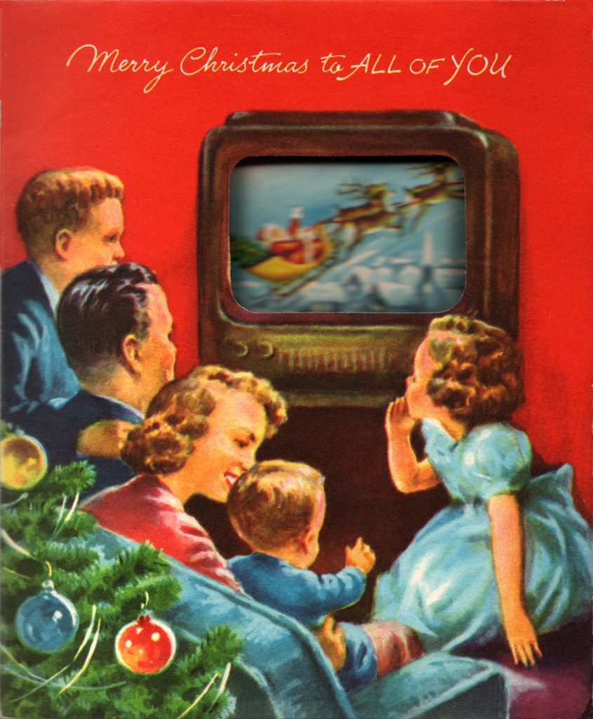 vintage 1950s christmas card holiday broadcast 1950s