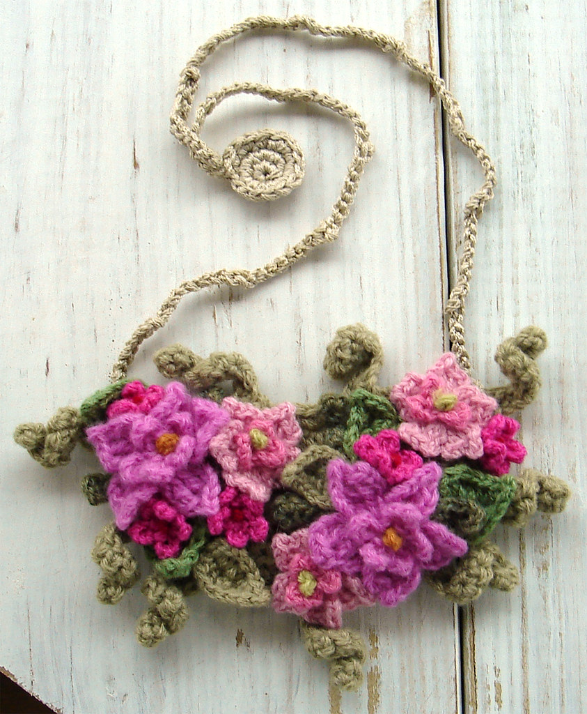 Crochet Bib Necklace In Hot Pink Flowers This Bib