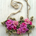 Crochet Bib Necklace in Hot Pink Flowers