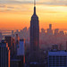 Empire State Building, Southern NYC skyline and the awesome sunset