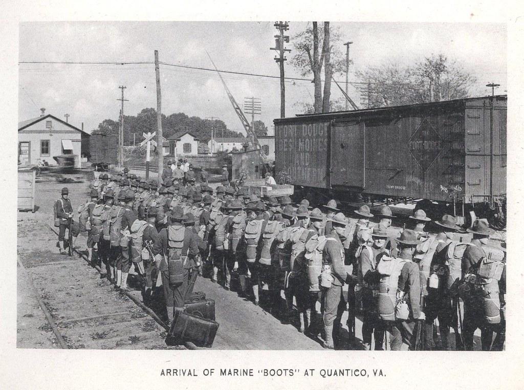 """Arrival of Marine """"Boots"""" at Quantico, Virginia, ca. 1918 ..."""