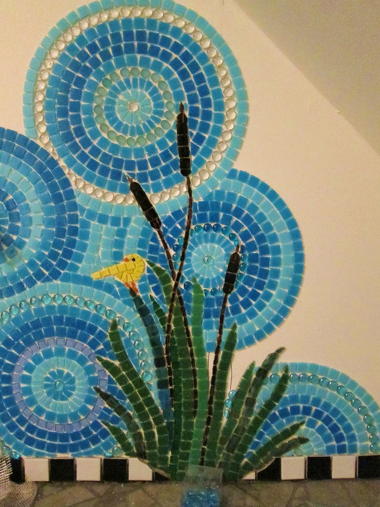 Mosaic Glass Art On Canvas With Painting