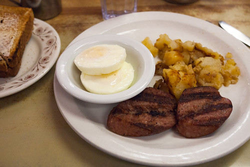 Farm Sausage with Poached Eggs, Hash Browns & Toast @ Blackfoot Truckstop Diner | by Vincci T