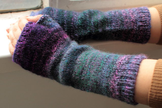 A previous mittens project knitted with handspun yarn