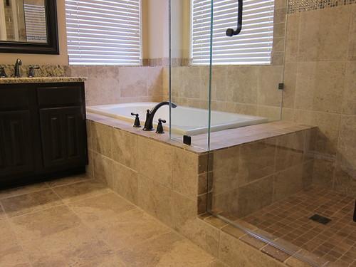 Bathroom Remodel With Drop In Bathtub Tiled By The Floor