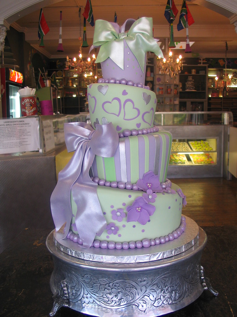 lilac and silver wedding cakes 4 tier mad hatter wedding cake covered in mint amp lilac fon 16879