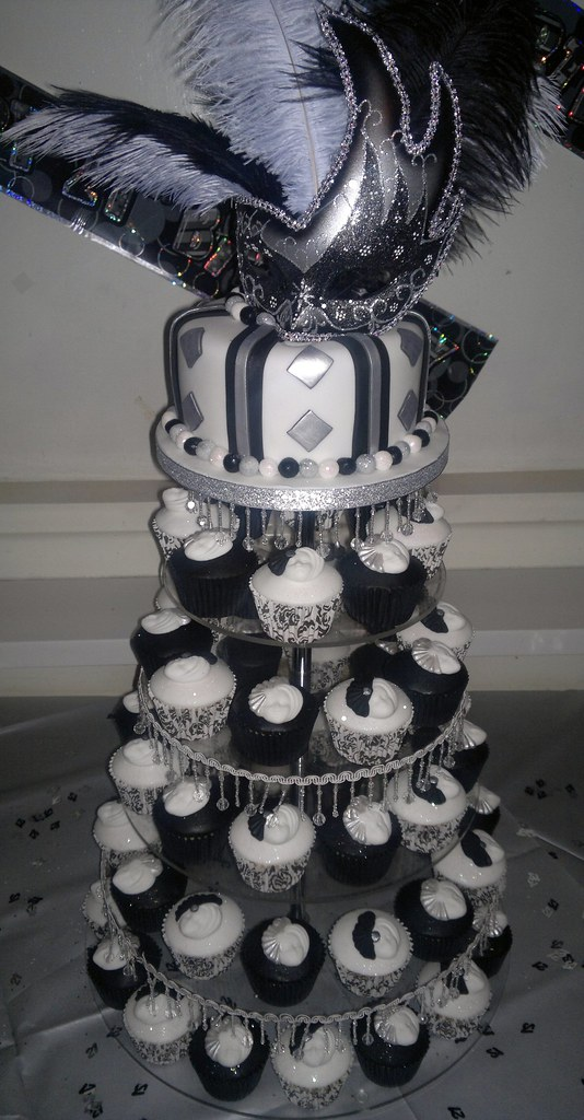Black White And Silver Masquerade 21st Birthday Cake And