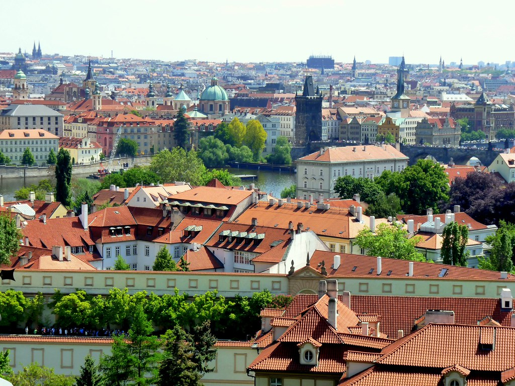 Prague cityscape view of prague from near prague castle for Where is prague near