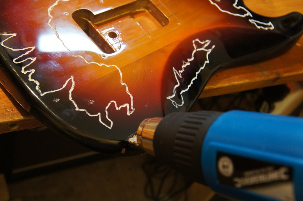 Using a heat gun to strip off the guitar 39 s paint jack 39 s for Heat gun to remove paint