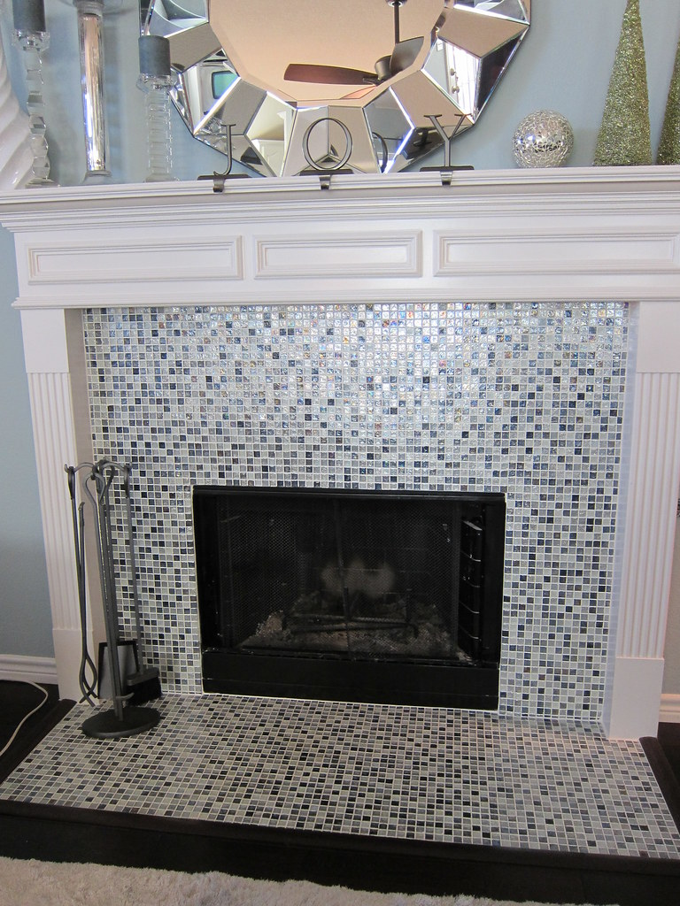 Fireplace Remodel With Glass Tile Fort Worth Removed Exist