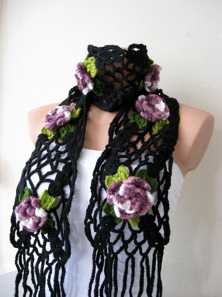 hand crochet black lariat scarf with pink purple flowers w u2026