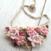 Crochet Bib Necklace in Soft Pink Flowers