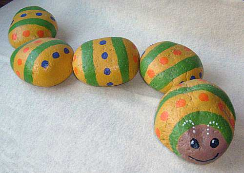Caterpillar painted on individual river rocks large - Painting rocks for garden what kind of paint ...