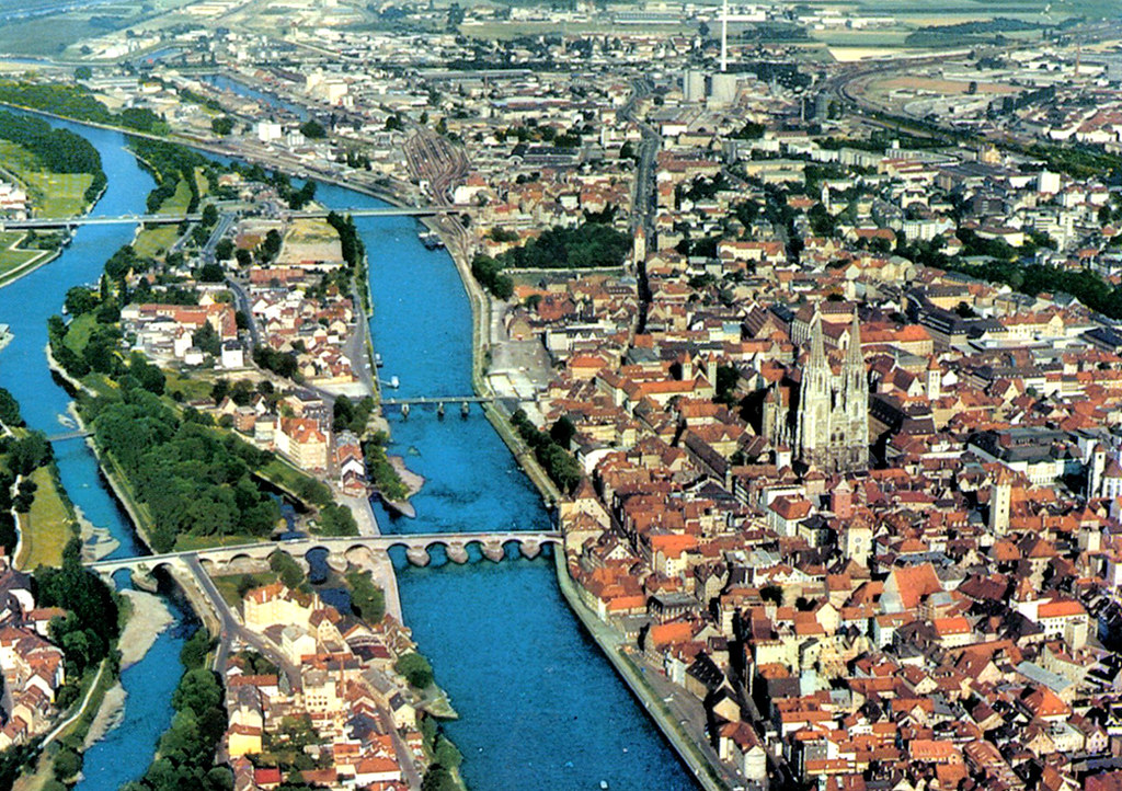 Regensburg From The Air Postcard A Postcard Air View