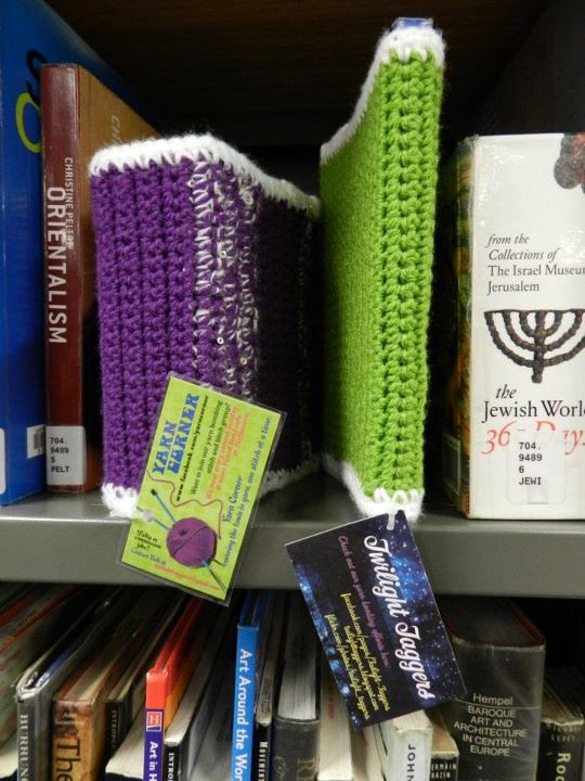 Book Cover Watercolor Yarn : Yarn bombing book covers bombed city