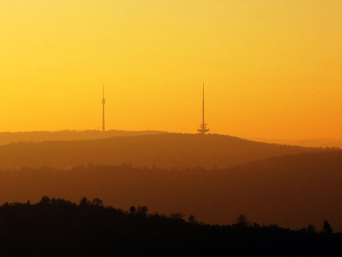 TV Tower and Mountains in November Sunset | by Batikart