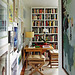 Source Unknown {white classic traditional vintage modern library / study with lots of art}