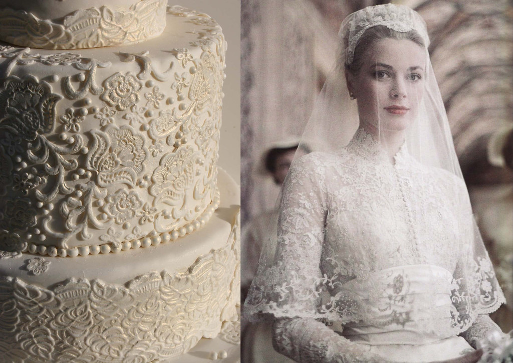 Lace cake inspired by grace kelly 39 s wedding dress lace for Grace kelly inspired wedding dress