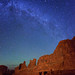 Milky Way stars over Park Avenue - Arches NP