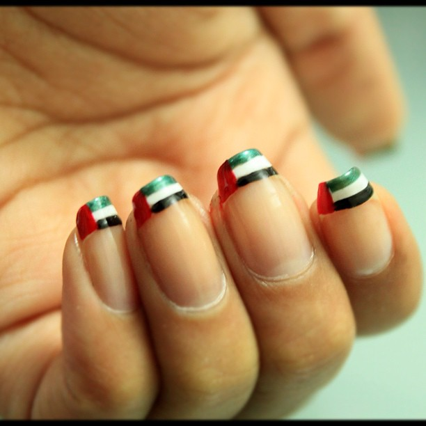 National Day Nail Art! #uae, #nailart, #flag, #design