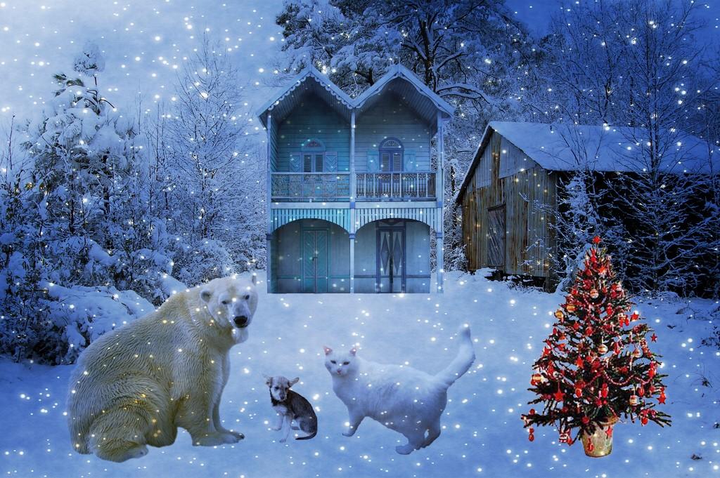 snowy christmas scene with three animal buddies snowy