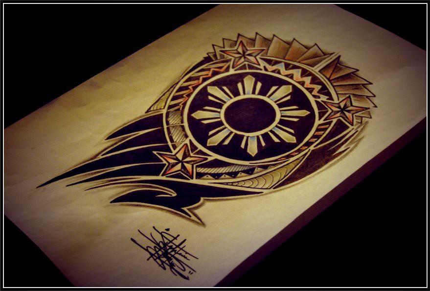 filipino sun tribal half sleeve tattoo design stephanie isidro flickr. Black Bedroom Furniture Sets. Home Design Ideas