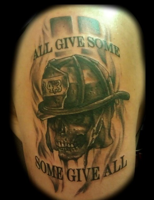 911 firefighter memorial skull tattoo by jackie rabbit for Firefighter sleeve tattoo