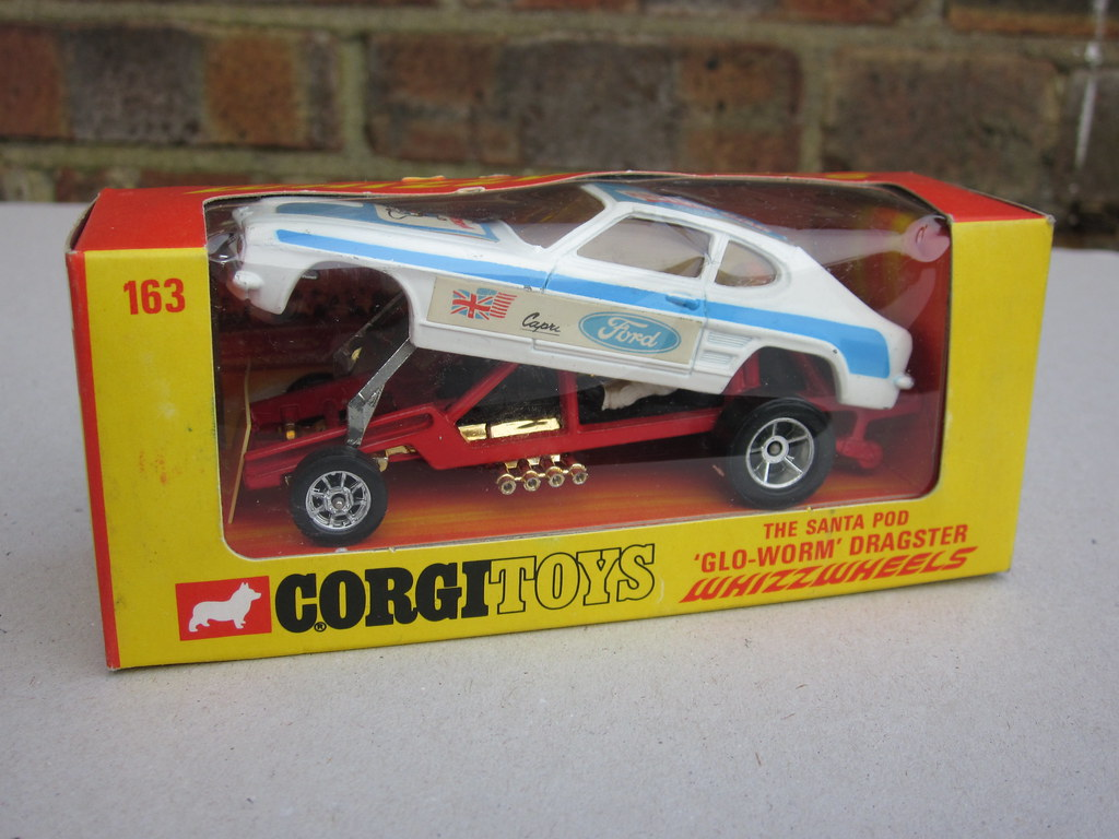 Vintage Corgi Toys Santa Pod Glo Worm Dragster Ford Capri