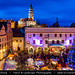 Czech Republic - South Bohemian Region - Český Krumlov - UNESCO World Heritage Site - Old Town - Christmas Market on main square at Dusk - Twilight - Blue Hour - Night