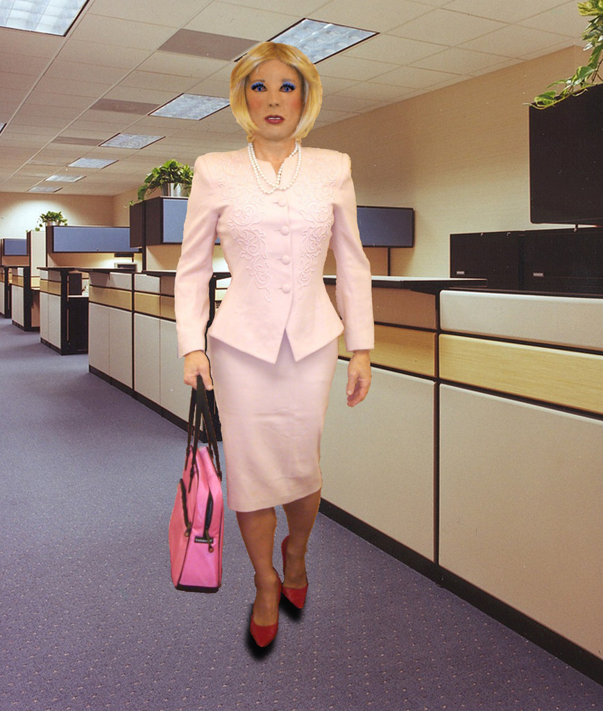 Kathy Leigh Pink Skirt Suit In Office I Could Not Resist