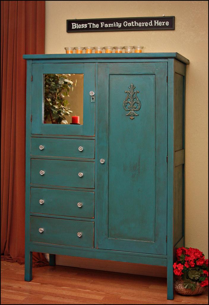 My Lovely Shabby Chic Turquoise Wardrobe Just Finished