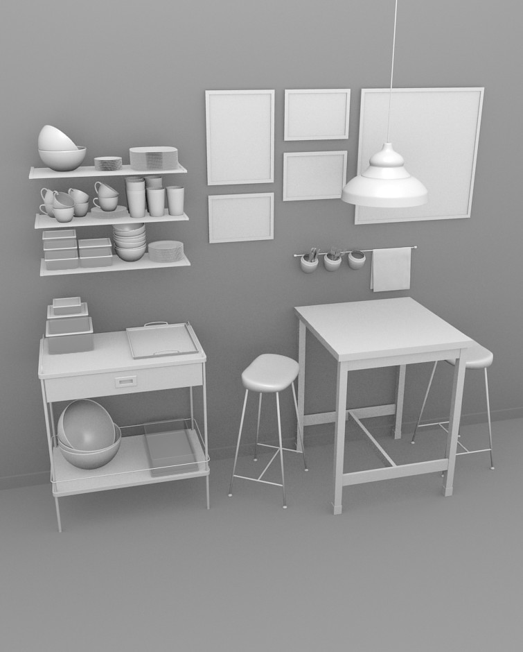 3D Model Of The Kitchen Interior