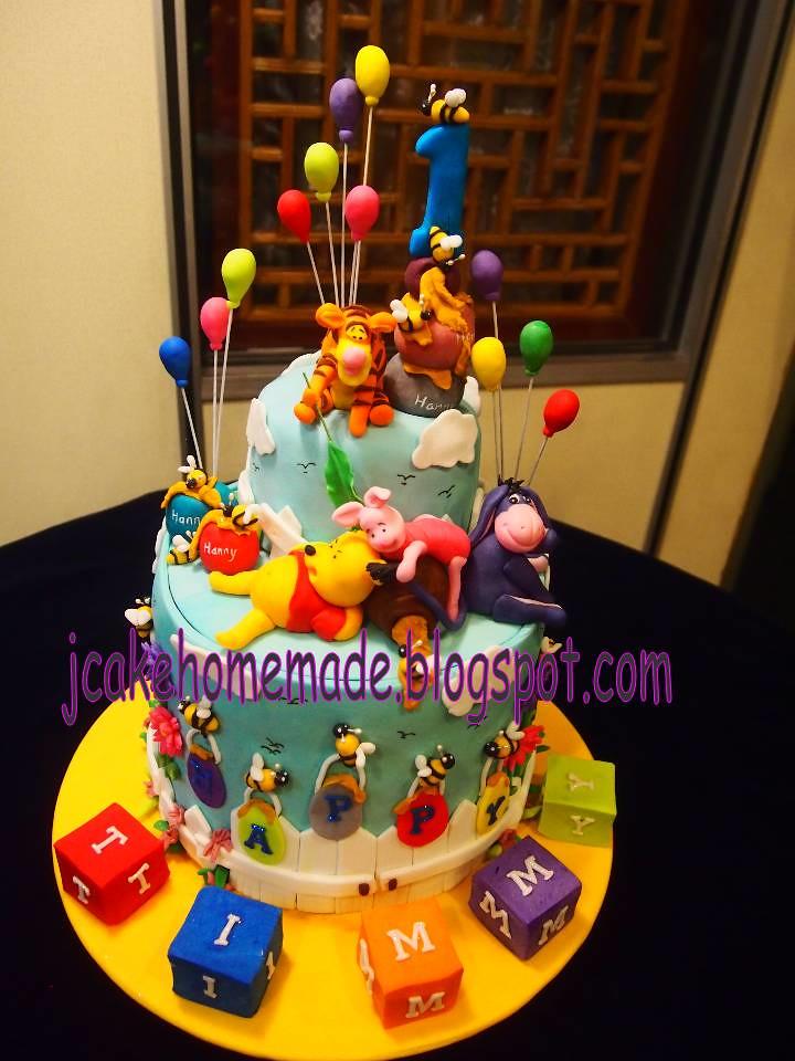 Winnie The Pooh Birthday Cake Happy 1st Birthday Timmy