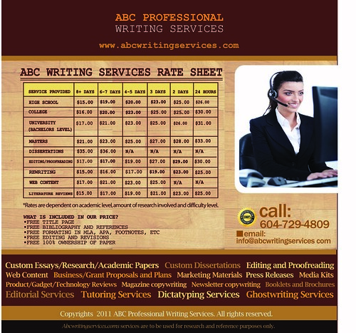 ABC WRITING SERVICES LOW RES GENERALIZED RATE SHEET | by amisampat87