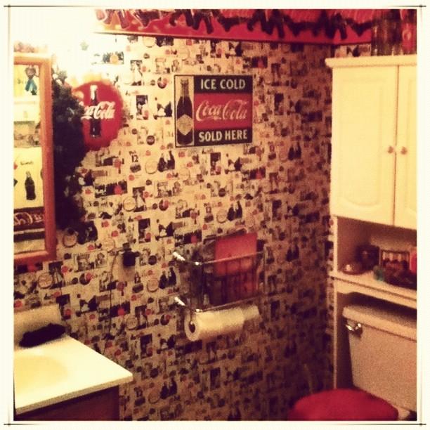 Yes it 39 s a coca cola themed bathroom home bathroom c - Bathroom coca cola shower curtain ...