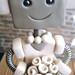 Robot Wedding Cake Topper   Brown Suit White Dress