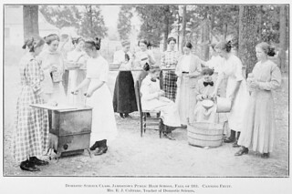 Domestic science class, Jamestown Public High School, Fall of 1911, Canning Fruit. | by Government & Heritage Library, State Library of NC