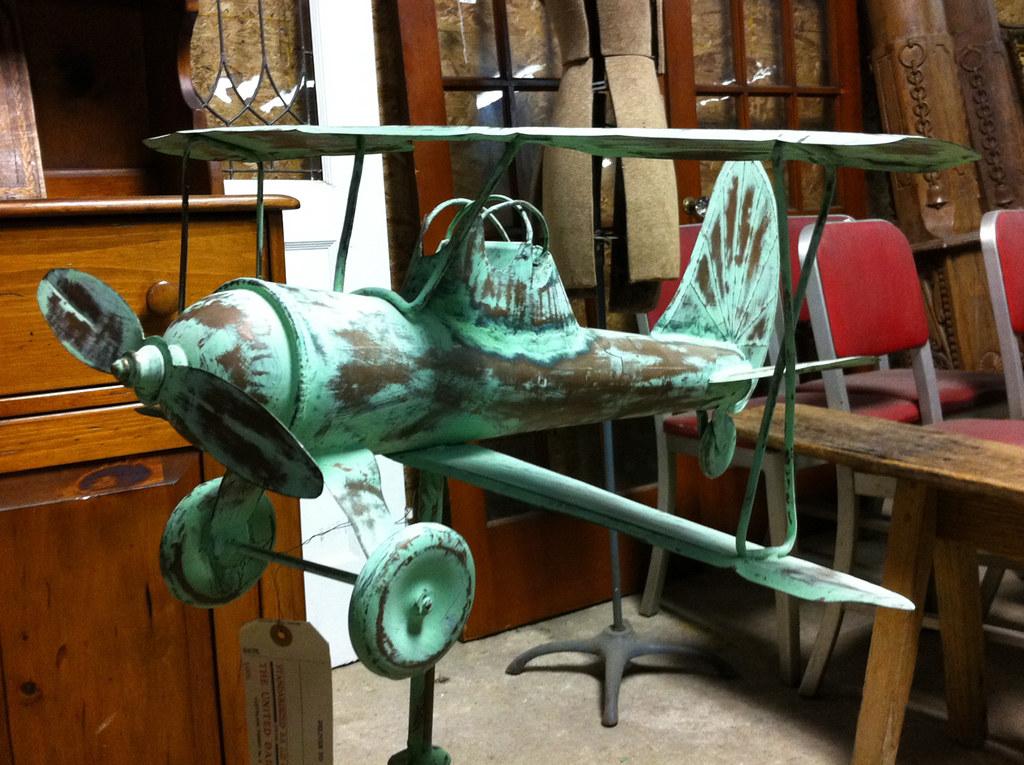 Vintage Weather Vane: Antique Biplane Weathervane