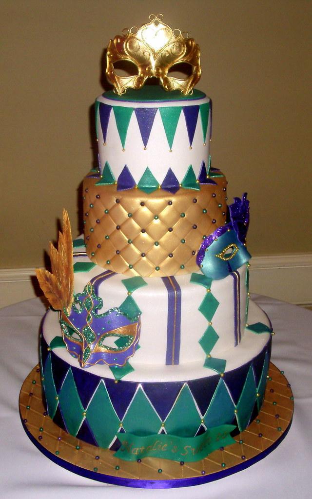 Mardi Gras Themed Wedding Cakes