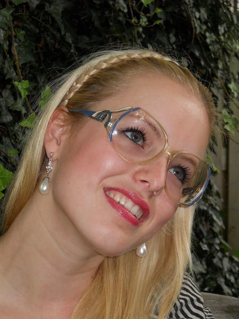 Hot Blonde Girl Melissa Wearing Vintage Bruliman Glasses -2272