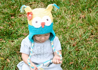 Yellow & Teal Owly Hat | by Daisy Cottage Designs