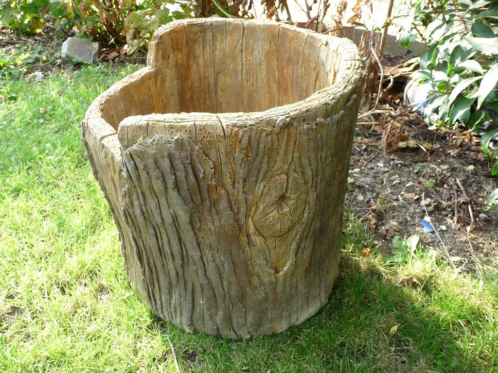 Faux Bois Cement : Faux bois concrete planter hand made fake