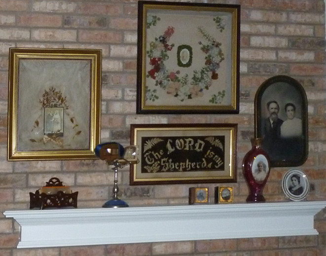 Our Fireplace Mantel With The Wedding Shadow Box Added