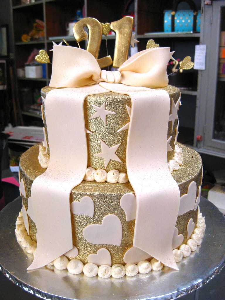 2 Tier Wicked Chocolate Cake Iced In Gold Butter Icing Dec