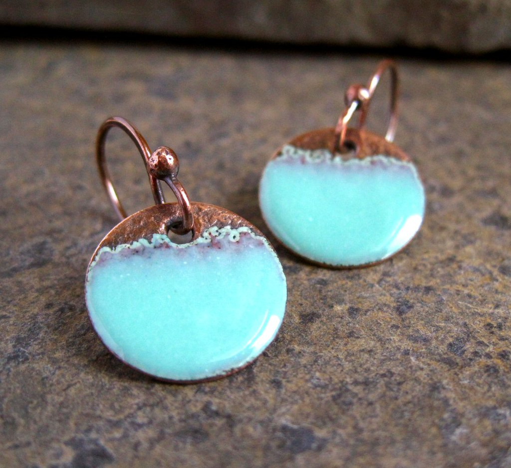 seafoam copper enamel disc earrings tracy flickr
