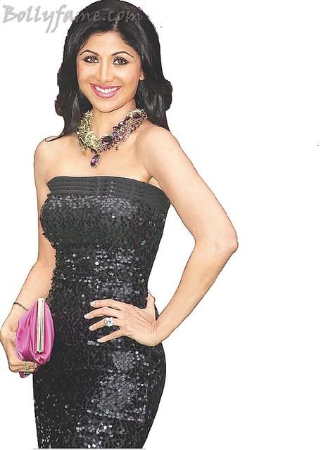 Shilpa shetty curvy figure in tight black dress www bollyfame com