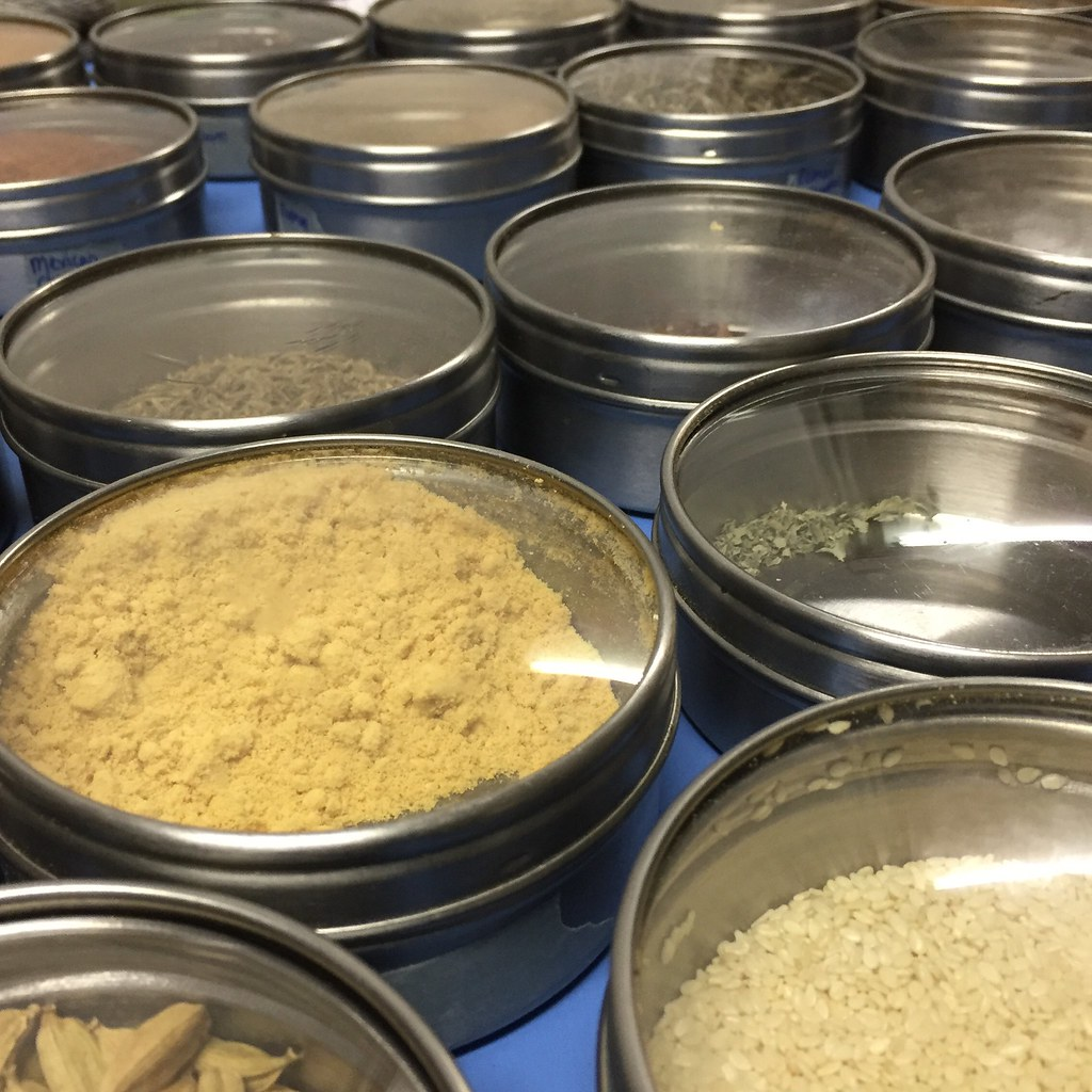 sorting and labelling the magnetic grundtal spice jars