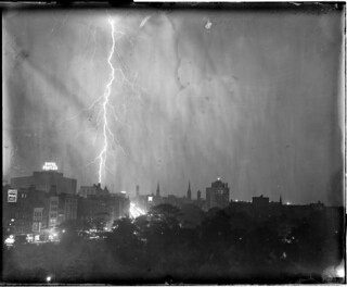 Lightning strikes near Hotel Statler in Park Square | by Boston Public Library